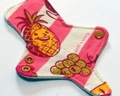 """ULTRATHIN Reusable Cloth Pad 7 inch Adjustable Thong liner - Cotton Knit top - David and Goliath """"Fruity"""""""