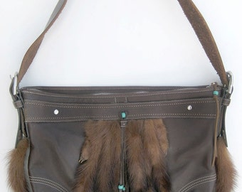Upcycled Coach bag with mink!