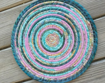 Fabric Coiled Turquoise Trivet