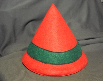 Red felt Elf's hat, Christmas hat, Childrens cap  only one