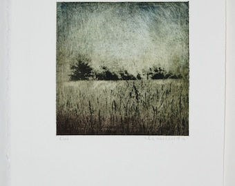 Field-Original Etching Hand Pulled Print-signed artwork