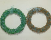 BEACH GLASS WREATH / sea glass wreath / seaglass wreath / beach cottage decor / hand crafted glass wreath / beach glass / blue glass / green