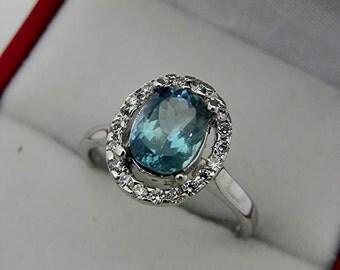 AAAAA Santa Maria Blue Aquamarine Cushion cut   8x6mm  1.42 Carats   14K white gold Halo Engagement Ring with .25 carats of diamonds 0733
