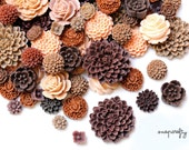 25pc brown tones resin flower cabochon mix / resin flower grab bag to make earrings, rings, and hair pins