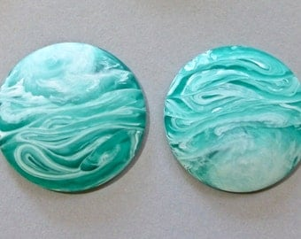Vintage Aqua and White Swirled Round Flat Back Lucite Cabochons 30mm (2)
