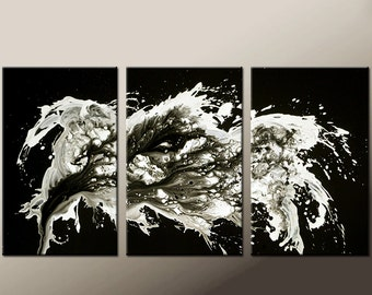 Abstract Canvas Art Painting Huge 3pc 72x36 Original Contemporary Painting by Destiny Womack - dWo -  Finding Lost Memories