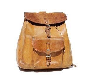 Vintage Tan Leather Backpack Bag