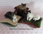 RESERVED for MrsPaula. -- Custom Needle Felted Fancy Cat Kitty Pincushions from Photos (12216)