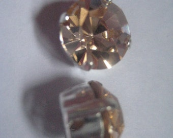 Lot of 4 11mm Light Peach Czech Preciosa Rhinestones in Sew on Settings
