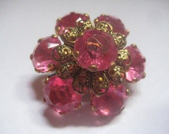 Rose Rhinestones and Gold Tone Metal Filigree Flower Pin So Lovely