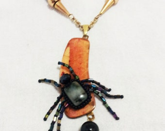 Beadwoven Spider Necklace . Gray& Black Jasper Stone . Asian Cherry Wood Pendant . Fall Halloween - Insect Pendant by enchantedbeads on Etsy