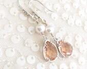Peach Glass Earrings with Cubic Zirconia Rhinestone Ear wires // Peach Earrings, pearl bridesmaid earrings blush Bridesmaid Jewelry, Bridal