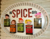 OOAK Retro Kitchen Art Spice Girls Vintage Tins on Metal Tray Kitsch