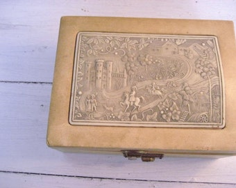 40% off SALE-use coupon code Discount40 at checkout-Vintage Jewelry Box with Intricate Carved Celluloid Panel