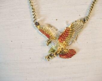 Vintage Eagle Gold-Tone Metal Necklace