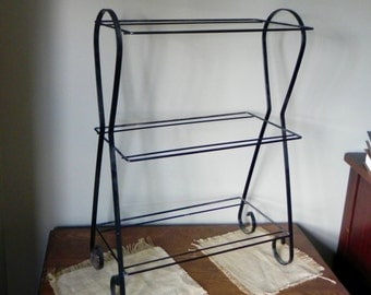 Vintage aquarium rack stand black metal wire three shelves add wood or glass shelves retro style