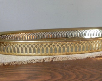 Brass gallery tray etched engraved oval shaped tray display or use to carry