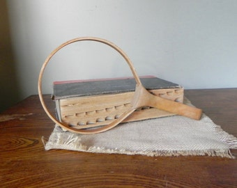 Vintage embroidery hoop with a handle use as a unique picture or item frame