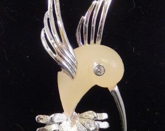 Vintage Yellow Bird Brooch - Molded Plastic & Rhinestone in Silvertone