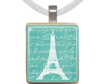 Scrabble Pendant, Scrabble Necklace, Scrabble Tile, Paris Necklace, Girls Necklace, Eiffel Tower, France, French (EIFFEL TOWER Aqua)