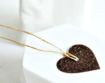 Brown Glitter Heart Tags | Brown Heart Tags | Brown Glitter Tags | Heart Tags | Love Heart Tags | Valentine Heart Tags | Wedding Favors