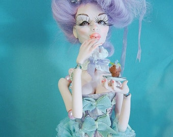 OOAK Art Doll Marie Antoinette Let Them Eat Cake posable Doll  by moninesfaeries