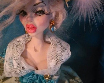 Marie Antoinette in Blue Ooak Art Doll by Moninesfaeries