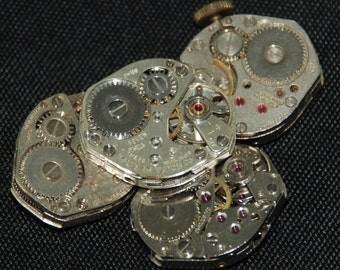 Vintage Watch Movements Parts Steampunk Altered Art Assemblage CD 76