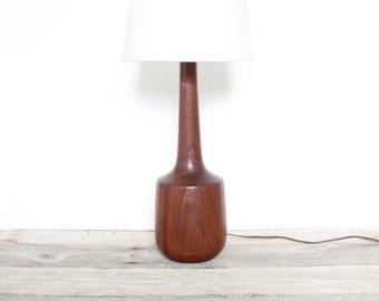 Modern Teak Wood Turned Lamp