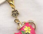 Pink Teapot Stitch Marker Clip Enameled Rhinestone Charm Single /SM248A
