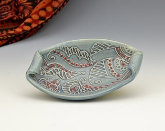 Small Boat bowl Unique Indian Paisley texture pattern Colorful by Creative with Clay Charan Sachar