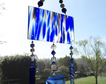 Blue Sun Catcher, Cobalt Stained Glass Windchime, Glass Wind Chimes, Beaded Mobile, 8241