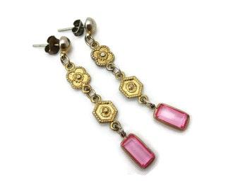 Pink Earrings - Glass, Long Dangles, Gold Tone, Pierced