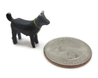 Tiny Carved Wood Dog - Vintage, Miniature, Hand Painted, Black and White Dog
