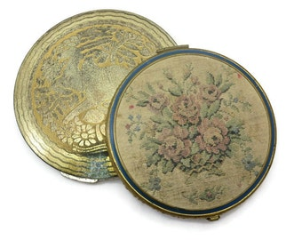 Powder Compacts - Tapestry, Vintage Compacts