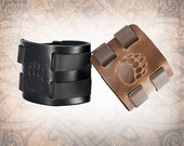 Bear Paw Leather Cuff, Leather Wristband, Brown Cuff, Leather Bracelet, Black Leather Cuff, Leather Band - Custom to You (1 cuff only)