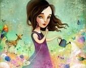 ON SALE Secret Garden 11X11 Print - girl gardener, green fingers, garden art, girl room,  Meluseena print
