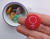Red felt woman badge - feminist pin badge - stocking filler - feminist gift