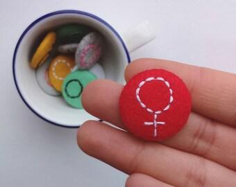 Red felt woman badge - feminist pin badge - stocking filler - feminist gift
