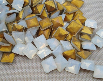 12 Vintage 7.5mm Milky White Opal Gold Foiled Pointed Back Square Smooth Top Glass Rhinestones