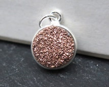 Sterling Silver Copper Druzy Round Pendant 14mm (ET8333)