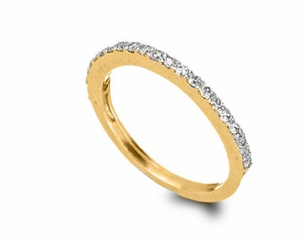 Thin Diamonds Engagement Ring , 14k Gold and Diamonds Ring , Gold Tennis Ring  , Stacking Engagement Ring , Red or White Diamonds Ring