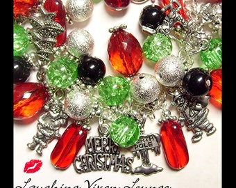 Christmas Bracelet - Christmas Jewelry - Christmas Necklace - Santa Jewelry - Kris Kringle Full Charm Bracelet - Santa Bracelet