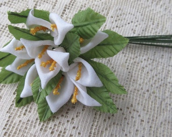 Fabric Millinery Flowers From Austria 12 White Calla Lilies Flowers #A47W
