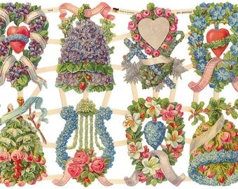 Germany Paper Scraps Die Cut Lithograph Victorian Flowers  7416