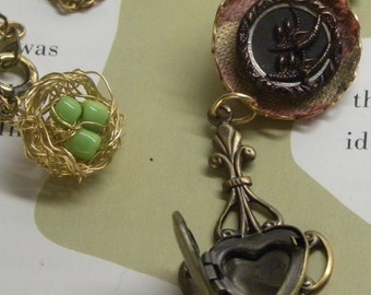 Sweetheart Antique Victorian Forbidden Fruit Picture Button HEART Aromatherapy LOCKET NECKLACE with Bird Nest Charm Romantic