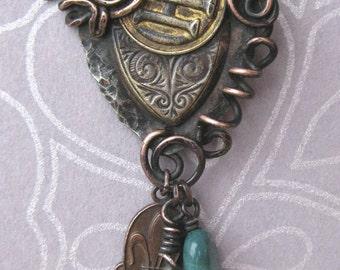 Original OOAK mixed metal pendant with fun dangle