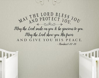 May the Lord bless you and protect you - Nursery Wall Decal, Home Decor, nursery decal