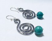 Aluminum Earrings, lightweight turquoise, modern statement jewelry
