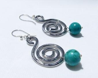 Aluminum Earrings, lightweight turquoise, modern statement jewelry